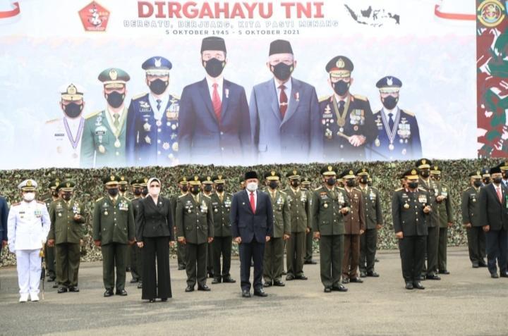 Gubernur Herman Deru Hadiri Upacara Peringatan HUT TNI Ke 76 Tahun