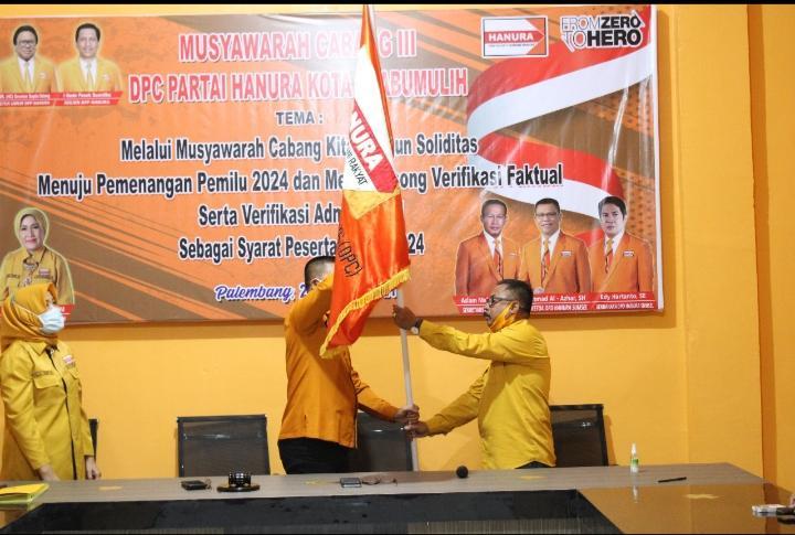 Hartono Hamid Terpilih Jadi Ketua DPC Partai Hanura Kota Prabumulih 2021-2026