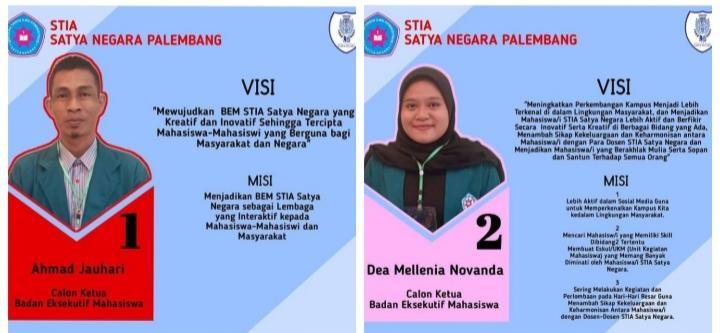 Ini Dia 2 Kandidat Calon Ketua BEM STIA Satya Negara Palembang Periode 2021-2022